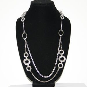 Stunning silver necklace Long 40""